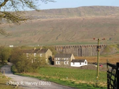 Site of Ashwell's Yard: Context from southeast with Ribblehead viaduct beyond