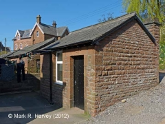 Langwathby Railway Cottages: Wash-houses / toilet blocks, south elevation