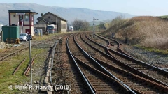 The southern approach to Kirkby Stephen Station with Down lie-by siding to right