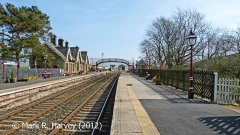 Kirkby Stephen Station 'Up' platform, booking office and footbridge from the NW