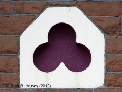 Langwathby Station Booking Office: Platform-side trefoil decoration in gable