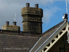 Ribblehead Station Booking Office: Detail view, chimney from the south