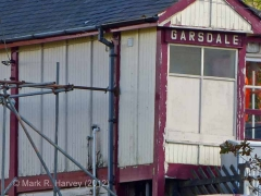 Garsdale Signal Box: Scaffolding support and peeling paint