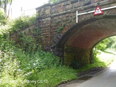 Bridge SAC/229 (Leazes Hill, PROW): South-east wingwall, abutment and brick-arch