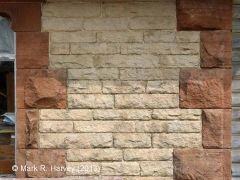 New Biggin Station Yard Office: South-west wall stonework detail