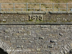 The '1875' datestone on the northwest parapet wall of Dandrymire Viaduct