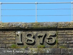 The '1875' datestone on the southeast parapet wall of Dandrymire Viaduct