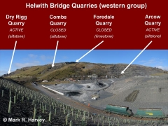Helwith Bridge Quarry Siding with quarry sites labelled