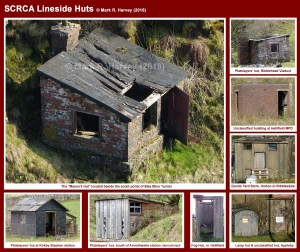 Photo-montage showing a representative selection of lineside huts located within the SCRCA.