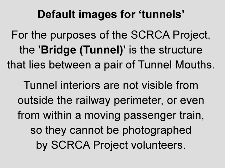 Note: Tunnel interiors cannot be photographed by SCRCA Project volunteers.