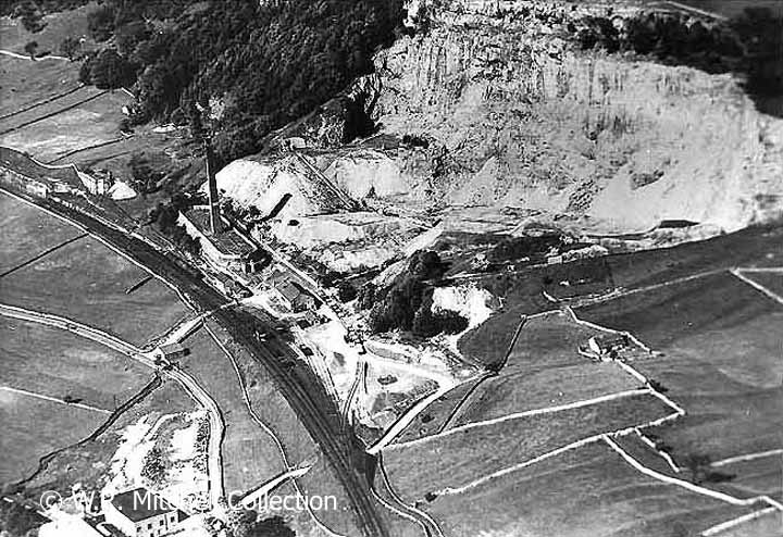 Aerial view of Langcliffe Quarry, the Hoffmann kiln and Stainforth Sidings