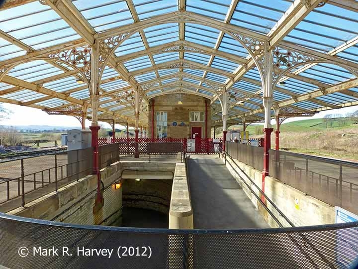 Hellifield Station: Platform canopy and subway access ramp