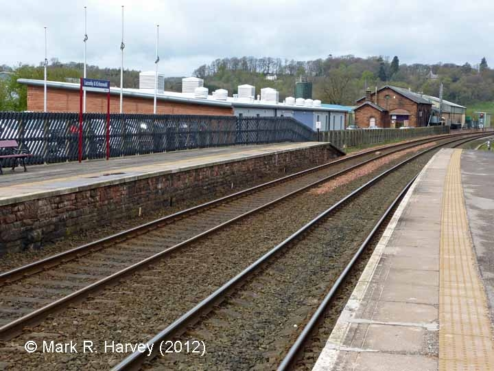 Lazonby & Kirkoswald Station Down Platform: Context view from the east