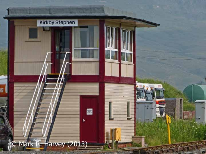 Milepost 266½ and Kirkby Stephen Signal Box, viewed from the northwest""