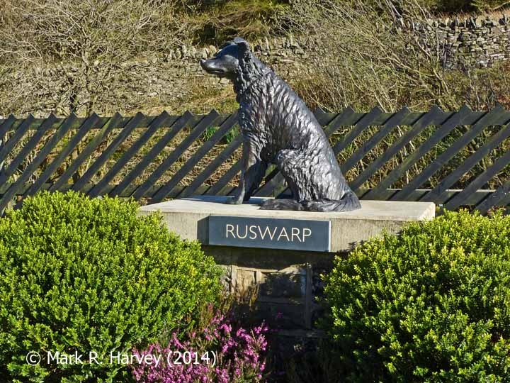 The memorial to Ruswarp and his owner Graham Nuttall at Garsdale Station
